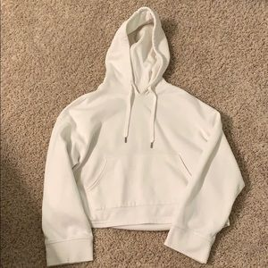 Cropped Basic White Hoodie